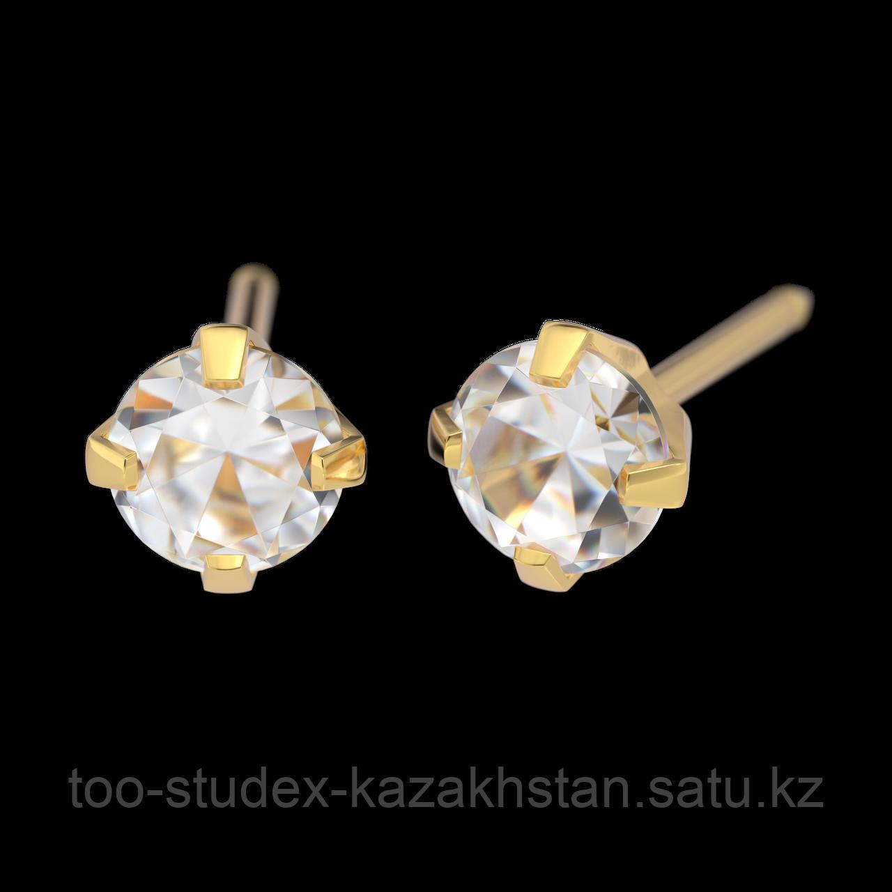 7521-0100 Серьги-иглы System75™ с кубиком циркония 4 мм