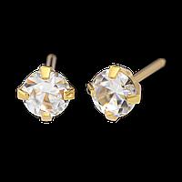 7521-0100 Серьги-иглы System75 с кубиком циркония 4 мм