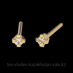 7531-0100 Серьги-иглы System75™ с кубиком циркония 2 мм