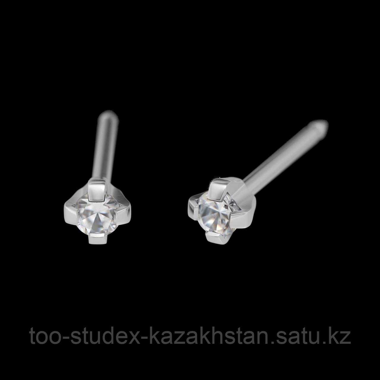 7532-0100 Серьги-иглы System75™ с кубиком циркония 2 мм