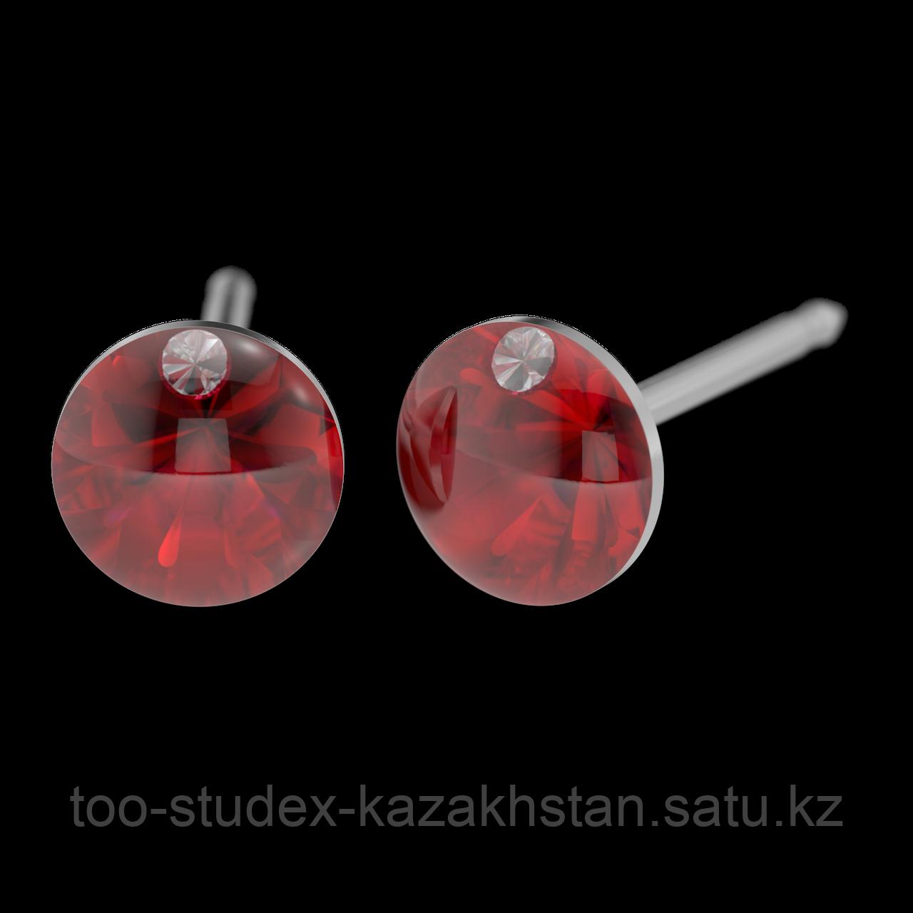 7522-4607 Серьги для прокола STUDEX System75 Красный кристалл с цирконом