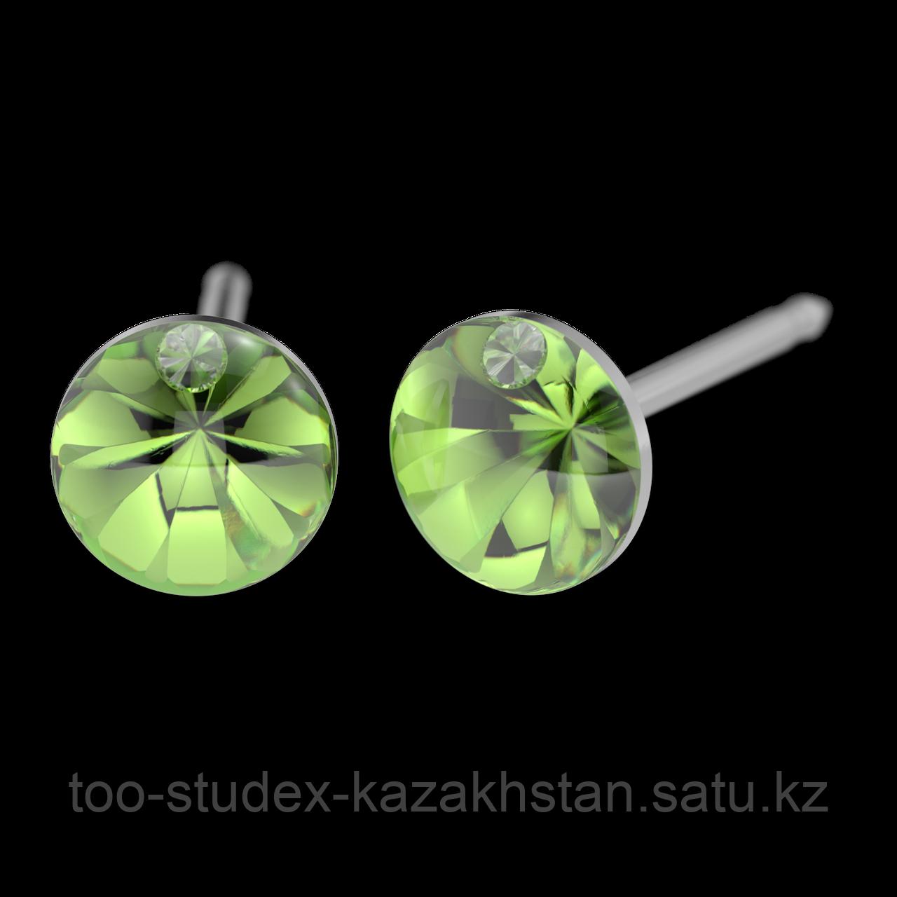 7522-4608 Серьги для прокола STUDEX System75 Зеленый кристалл с цирконом - фото 1