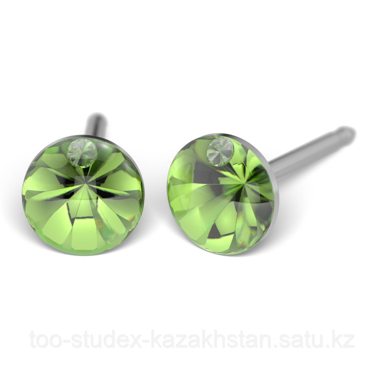 Серьги для прокола STUDEX System75 Зеленый кристалл с цирконом - фото 1