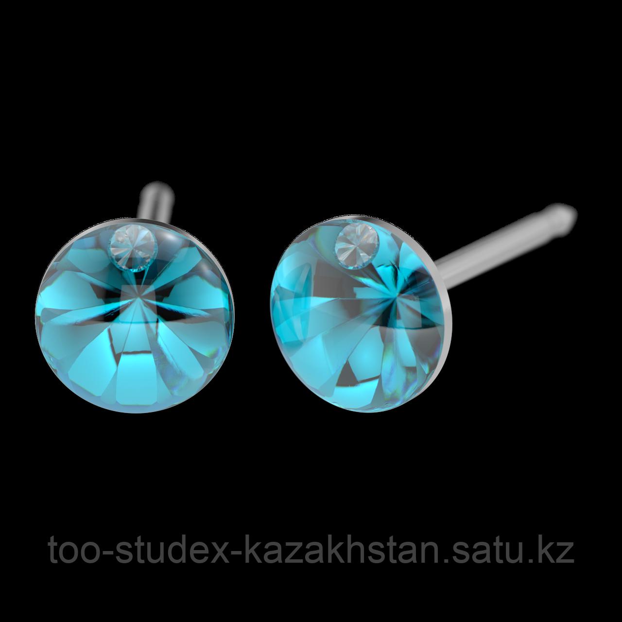7522-4612 Серьги для прокола STUDEX System75 Кристалл цвета морской волны с цирконом