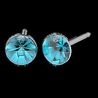 Серьги для прокола STUDEX System75 Кристалл цвета морской волны с цирконом