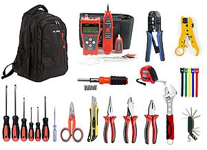 Набор инструментов для обслуживания кабельных линий связи и Ethernet в рюкзаке