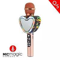 Караоке-микрофон беспроводной Micmagic Q5 с функцией записи голоса и цветомузыкой (Золотой)