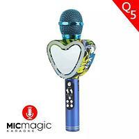 Караоке-микрофон беспроводной Micmagic Q5 с функцией записи голоса и цветомузыкой (Синий)