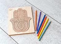 Детская мозаика Хамса - средняя (размер A5) с карандашами 6шт. (из кедра)