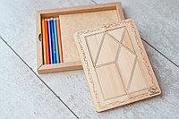 Детская мозаика Танграм - средняя (размер A4) с карандашами 6шт. (из кедра)