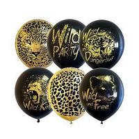 Шар латексный 12' Wild Party , BLACK GOLD МИКС, набор 25 шт.