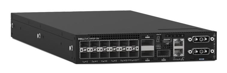 Коммутатор Dell EMC Switch S4112F, 12 x 10GbE SFP+, 3 x 100GbE QSFP28, IO to FAN, 2 x AC PSU, OS10