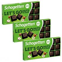 Темный шоколад Schogetten LET'S GO Nuts in Dark обжаренными кусочками фундука 100гр (15 шт. в упаковке)