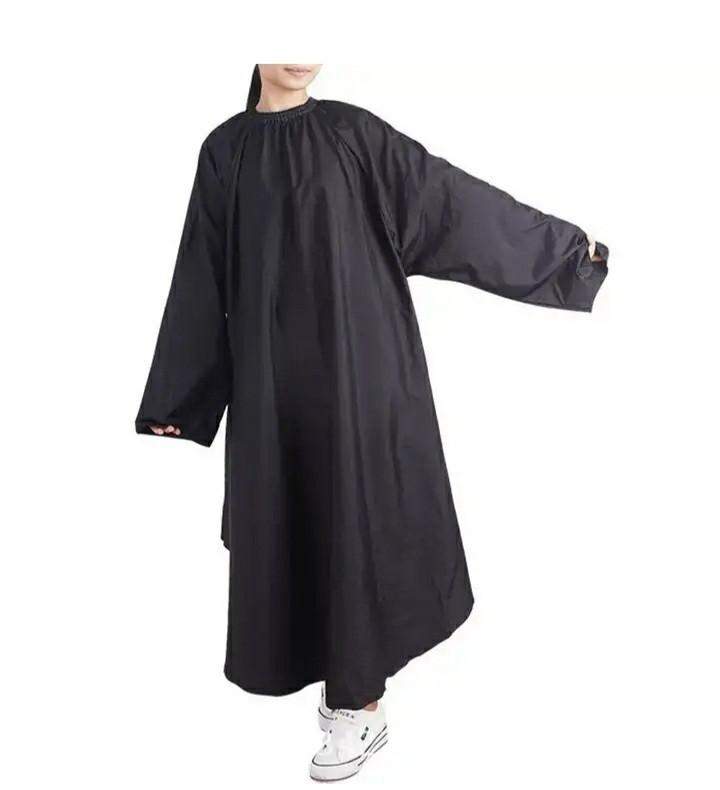Пеньюар для стрижки чёрный с руковами