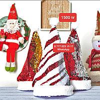 Новогодние колпаки санты /новогодняя красная шапка /шапка санты /колпак деда мороза с пайетками
