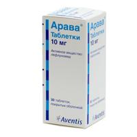 Арава 10 мг № 30 таблеток Санофи Винтроп Индустрия / Франция