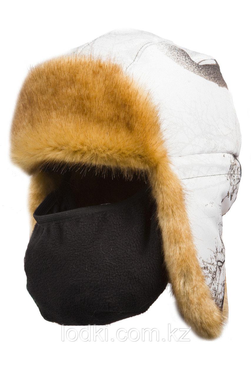 Шапка ушанка зимняя с маской Детская Евро Куница цвет Белый лес (кусты) ткань Cat's Eye - фото 1