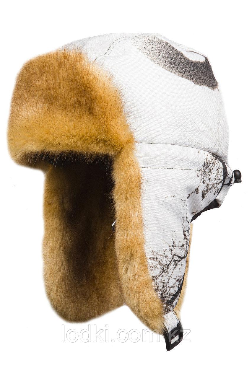 Шапка ушанка зимняя с маской Детская Евро Куница цвет Белый лес (кусты) ткань Cat's Eye - фото 2