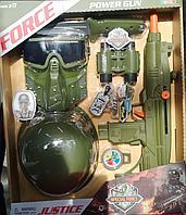 Детский набор военного, автомат с каской