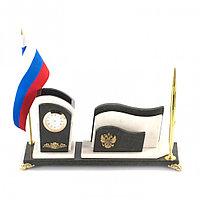 Настольный набор с флагом России мрамор