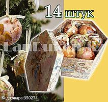 Набор елочных украшений шаров в подарочной упаковке 14 штук с рисунком Ангела