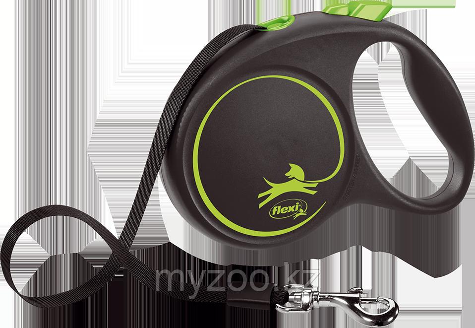 Рулетка-поводок Flexi, серия Black Design, лента, L, 5м, 50кг, черно-зеленый