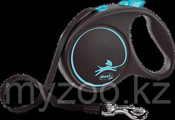 Рулетка-поводок Flexi, серия Black Design, лента, L, 5м, 50кг, черно-синий