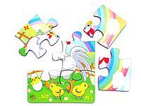 Пазл 6 элементов «Курица и радуга»