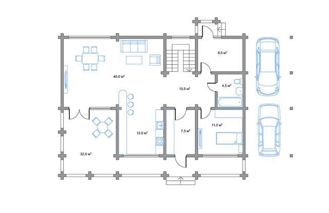 Проект дома с террассой и парковкой, план двухэтажного дома и строительство под ключ, проектирование и строительство деревянных домов.