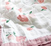 Муслиновый плед/одеяло Пионовая роза