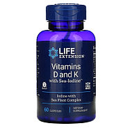 Life Extension, витамины D и К с Sea-Iodine, 125 мкг (5000 МЕ), 60 капсул