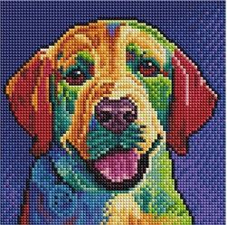 """Картины стразами на подрамнике """"Цветной пес"""" 20х20см"""