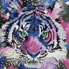"""Картины стразами на подрамнике """"Цветной тигр"""" 20х20см"""