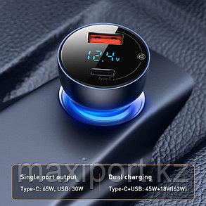 Автомобильное зарядное устройство Baseus VCKX65C usb+type-c 65W, фото 2