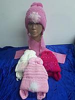 Комплект зимний для девочки:шапка с шарфиком. Фирма AMAL
