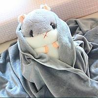 Плед-подушка хомяк 3 в 1, серый