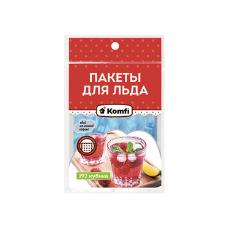 Пакеты для льда 192 кубика в ПП упаковке Самозатягивающийся, Komfi (200 уп/кор)100