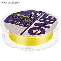 Плетёная леска №ONE SUPERIOR Х4-yellow, 100 м, d=0,20 мм