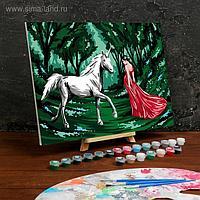 Картина по номерам на холсте с подрамником «Девушка с единорогом» 30×40 см