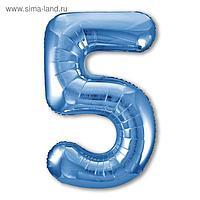 """Шар фольгированный 40"""" «Цифра 5», цвет синий, Slim"""
