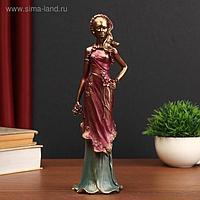 """Сувенир полистоун """"Девушка в бордовом платье с цветами"""" 27,5х8х7,8 см"""