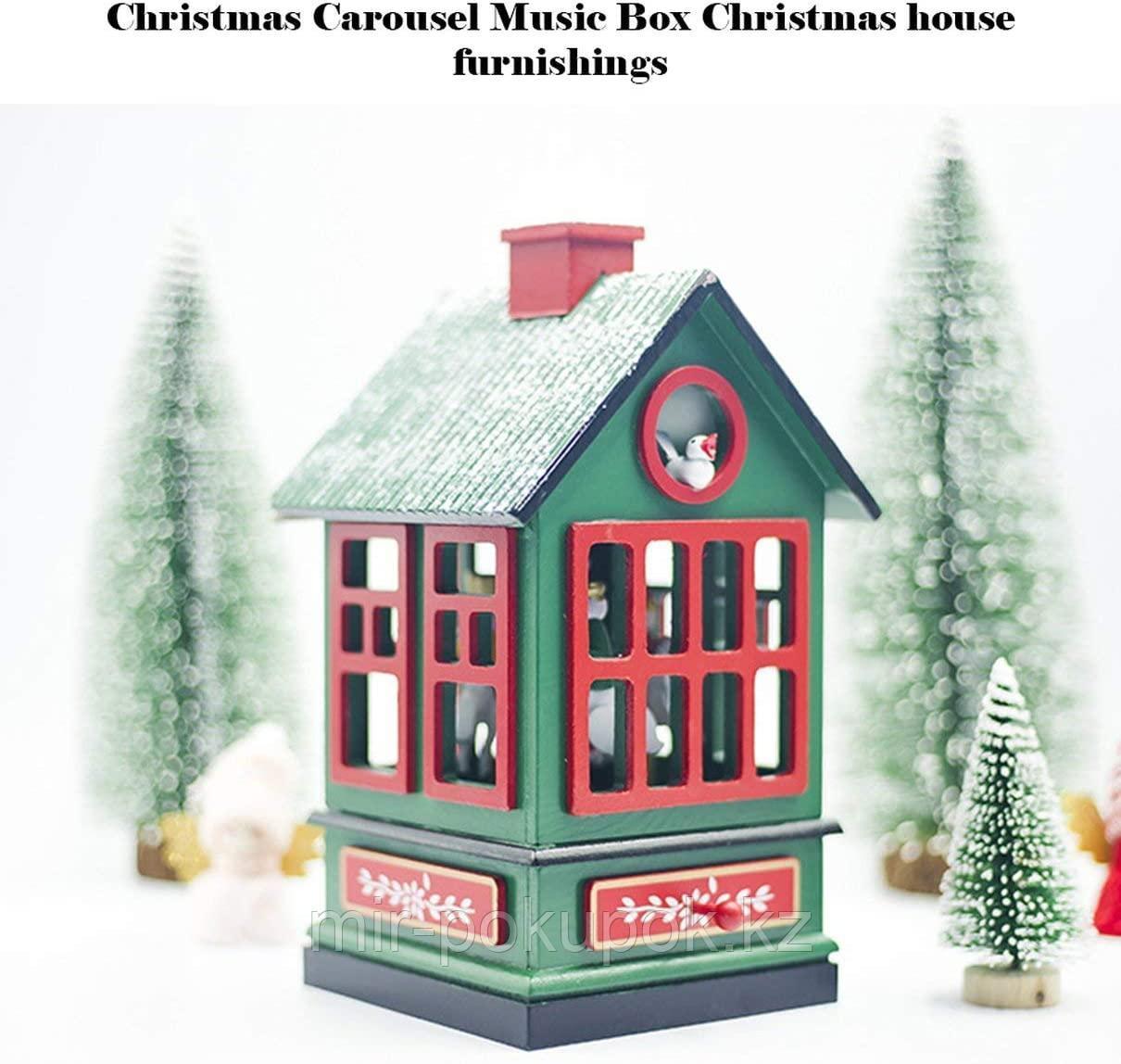 Деревянный музыкальный новогодний домик