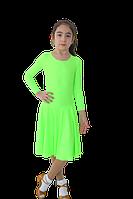 Платье рейтинговое длин.рукав без петли круглая горловина АККУ Цвет Неон Лайм Размер 34 Материал Полиамид