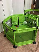 Манеж игровой зеленый + 10 шариков