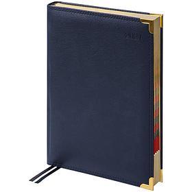 Ежедневник датированный 2021г., А4-(B5), 184л., кожа, Delucci, фактурная кожа, зол. срез