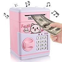Детский сейф-копилка с кодом и купюроприемником piggy bank