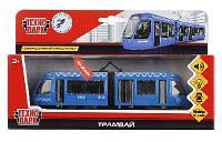 Трамвай новый с гармошкой, свет+звук,открываются двери,инерционная Технопарк
