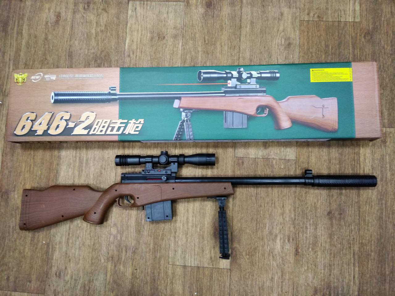 Детская снайперская пневматическая винтовка стреляет пластиковыми пульками 6 мм модель:NO.646-2 - фото 3