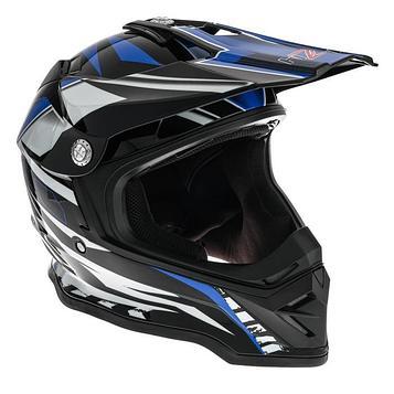 Шлем мото HIZER B6197, размер L, черный/синий/белый