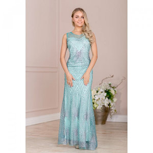 Платье женское MINAKU, цвет бирюзовый/серебро, размер 42
